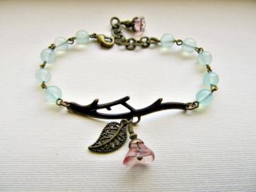 Nature Walk Bracelet - Chalcedony Gemstone and Antiqued Brass