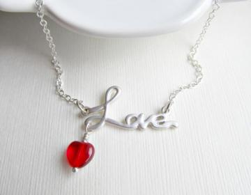 All You Need Is Love Necklace - Minimalist Modern Silver Charm Necklace