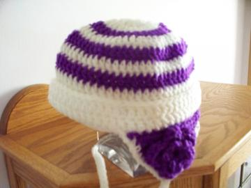 End of The Year Sale Girls Hat White and Light Grape with Flower on each Ear Flap