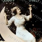DIGITAL scan Lady on MOON Toasting New Year altered antique French postcard photo download