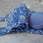 Bead Soup- Sparkle Blues Mix, handmade beadwork cuff