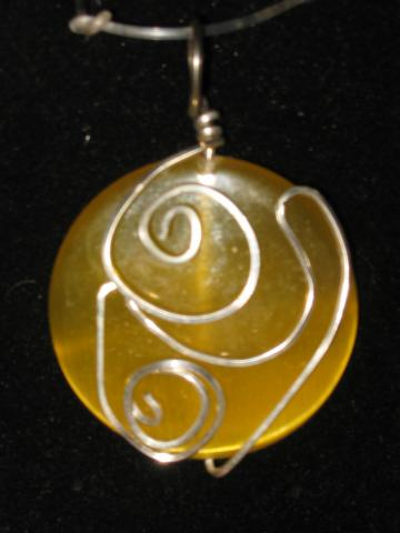 Lemon Yellow Optic glass &quot;Catseye&quot; and Sterling Necklace