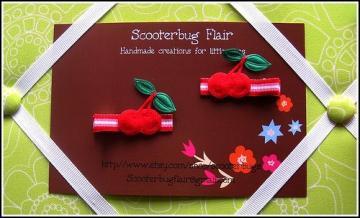 SCOOTERBUG FLAIR Cherry Hair Clip Set Pair