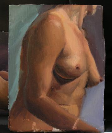 Original oil painting study of Magda's torso
