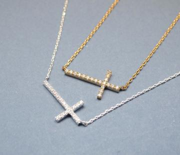 Rhinestone Sideways Cross pendant necklace Silver/Gold