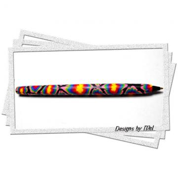 Tie Dye look-a-like Polymer Clay Pen.