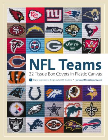 NFL-themed tissue box covers in plastic canvas eBook of all 32 teams patterns (PDF)