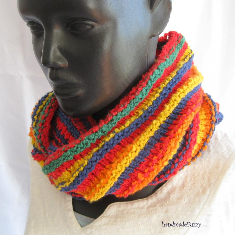 Rainbow Cowl Knitting Pattern : Click to Enlarge Image