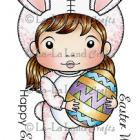 Easter Bunny Marci (with Sentiments) Rubber Stamp