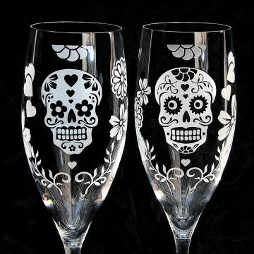 Personalized Day of the Dead Champagne Flutes, Halloween Wedding