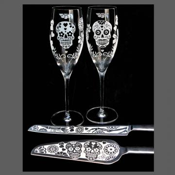 Personalized Sugar Skull Wedding Serving Set w/ Toasting Flutes, Cake Server and Knife