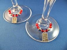 """I Love You"" Valentine Wine Glass Charms"