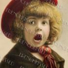 DIGITAL Scan SURPRISE Emotion FACE Victorian girl  TOMBOY  Antique French postcard