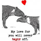 Funny Valentine Card Tapir Lovers with heart -My love for you will never tapir off-