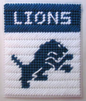 Detroit Lions tissue box cover in plastic canvas PATTERN ONLY