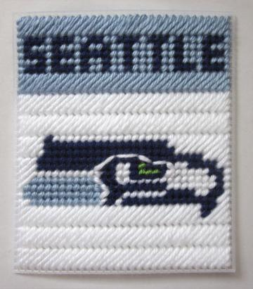Seattle Seahawks tissue box cover in plastic canvas PATTERN ONLY