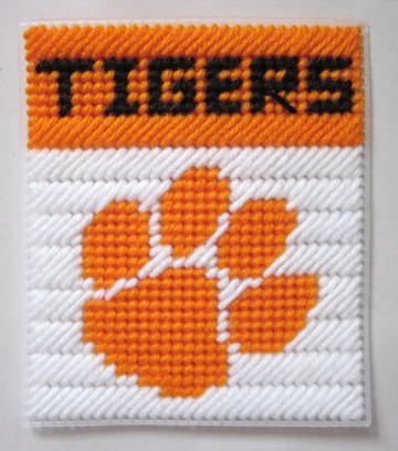 Clemson Tigers tissue box cover in plastic canvas PATTERN ONLY