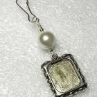 Wedding bouquet photo charm. Shell pearl bouquet charm.