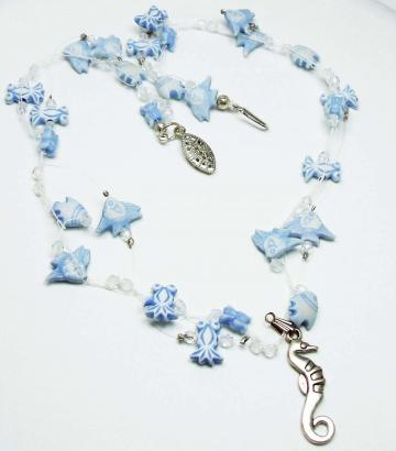 Blue Crocheted Necklace and Bracelet Set