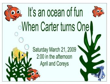 Personalized Finding Nemo childs birthday invitati