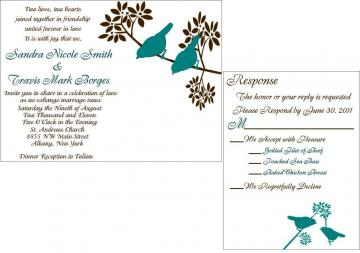 Custom wedding invitation suite modern teal and br