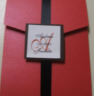 Modern Red and Black Pocketfold Wedding Invitation