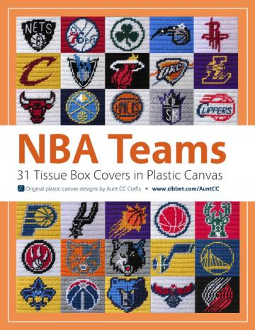 NBA-themed tissue box covers in plastic canvas eBook of all 30 teams patterns