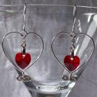 Made-to-Order Wire Heart with Swarovski Crystal Heart Accent Earrings