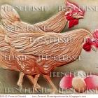 Two FRENCH HENS Pink Chickens Eggs Antique Postcard DIGITAL SCAN