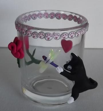 Black and White Cat with Dragonfly glass candle holder