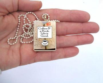 Book and Coffee Pendant - Quote - Can Personalize