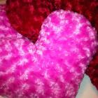 HEART Rosette Minky Pillow - Red or Pink - Great Valentine&#039;s Day Gift