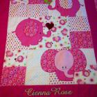 "Personalized Baby Quilt - Pink Elephant -  35"" X 40"" with Green or Pink Minky Binding"