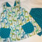 Reversible Girls Pinafore Dress with Shorts - Turquoise & Green Giraffe (Custom Order Size 6month-5T)
