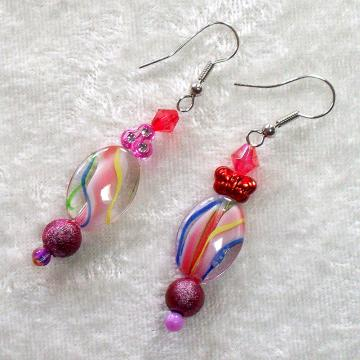 Beaded Dangle Earrings in pink valentine colors