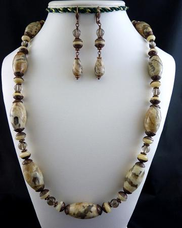 Reserved Listing - Graphic Feldspar and Smoky Quartz Copper Necklace