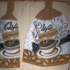 Cafe' Cappuccino Lovers Brown Tones Kitchen Hanging Towels (2)