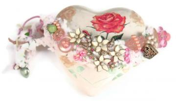 Rag Crochet Shabby Rose Embellished recycled vintage cuff bracelet