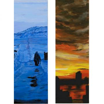 Blue Winter and Across The Hudson (Paired Paintings)