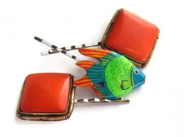 Bright orange blue green fish vintage recycled hair bobbies