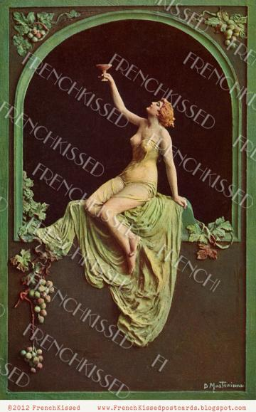 DIGITAL download Art Nouveau NUDE woman GRAPES  champagne wine antique postcard scan