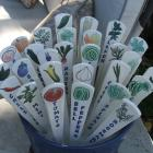Set of Three, Garden Markers,Handmade Hand Painted Ceramic Herb and Vegetable Markers