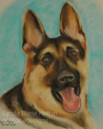 German Sheppard Dog ACEO Print From My Original Art
