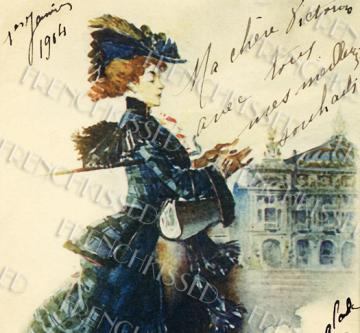 DIGITAL Scan Paris FASHION Parisian Haute Couture 1904 Victorian woman French postcard download