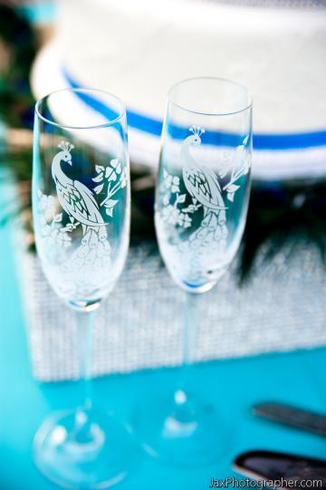 Crystal Champagne Glasses, Peacock Wedding Engraved Personalized