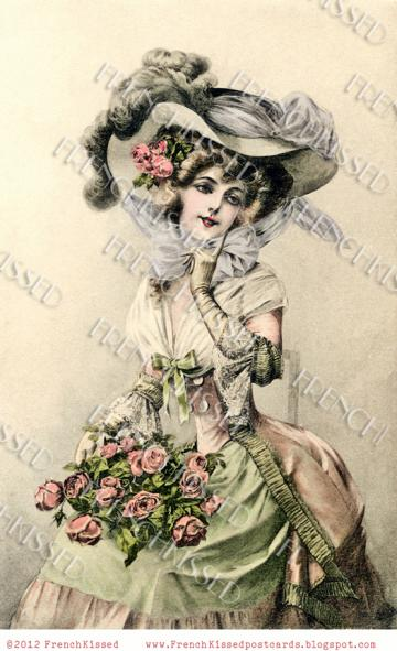 DIGITAL Scan download Victorian Beauty huge bonnet, ROSES antique French postcard