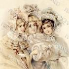 DIGITAL Scan Three VICTORIAN girls in Winter Fashion Muff Bonnets Antique French postcard Photo Download