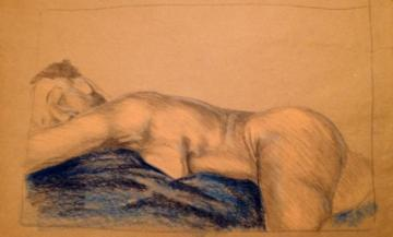 Art-Original nude sketch of African American Female figure  with pastel on brown paper. Done focusing on shadow and light