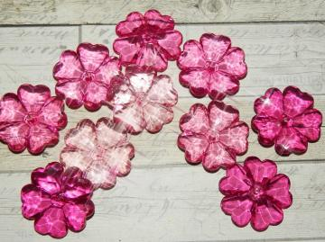Acrylic flower beads, hot pink mix