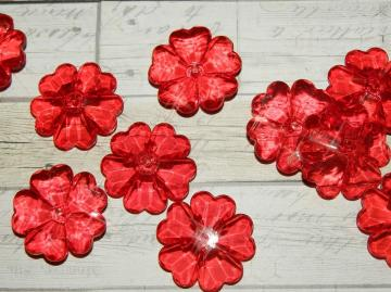 Acrylic flower beads, bright red